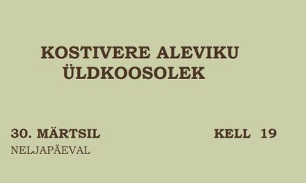 Kostivere aleviku koosolek / 30. märts kl 19:00